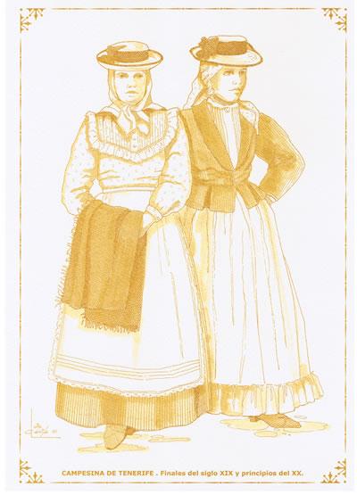 2469d3feb Grabado de la Vestimenta tradicional de una campesina de finales del siglo  XIX en Tenerife